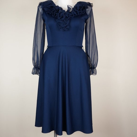 Vintage Dresses & Skirts - VINTAGE Good Times Dress Navy Blue Fit and Flare
